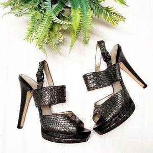 🎉Isola Damani Metallic Snakeskin Ankle Strap Heel